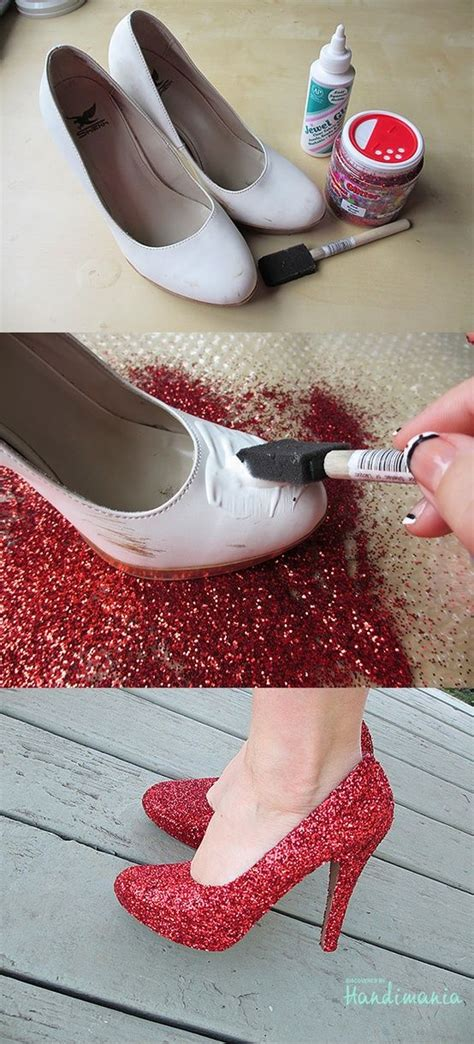 diy mod podge shoes diy ruby slippers use glitter and mod podge to make your