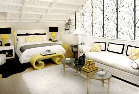 Yellow And Black Living Room Decorating Ideas by Sypialnia I Salon â Jak Je Poå ä Czyä Inspirujä Ce