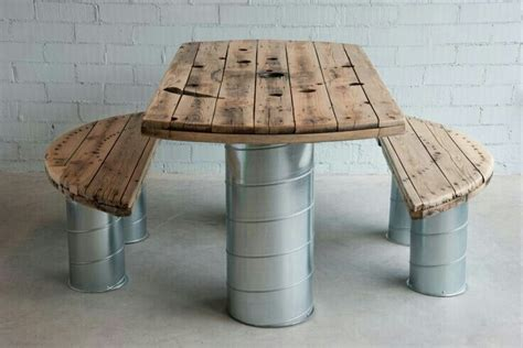 wire spool bench table benches spool repurpose wooden cable spools
