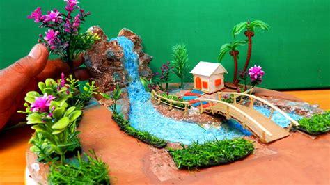 easy quick miniature fairy garden  waterfall