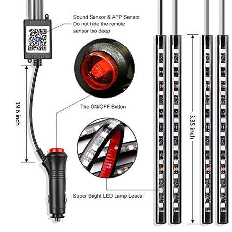 led automotive light strips car led lights wsiiroon 4pcs 48 led bluetooth app