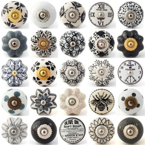 china cabinet knobs and pulls details about black white grey vintage ceramic knobs