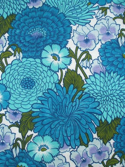 70s fabric vintage 60s 70s flower power fabric in cobalt blue and by
