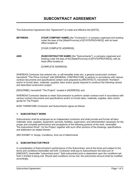 Contract For Subcontractors Template by Subcontractor Agreement Template Sle Form Biztree