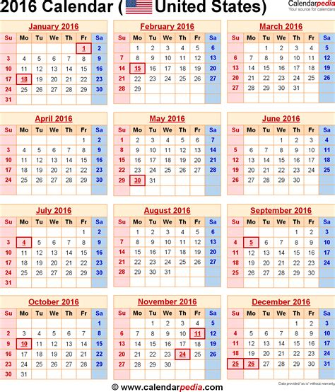 Calendar 2016 Usa 2016 Calendar With Federal Holidays Excel Pdf Word Templates