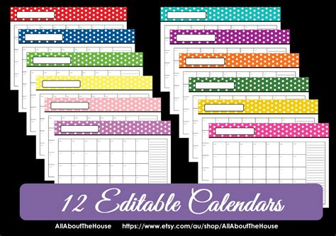 editable  polka dot calendars  choose