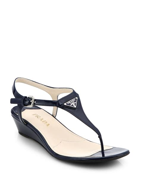 blue sandals lyst prada patent leather wedge sandals in blue