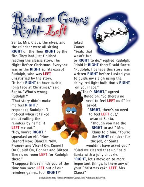 printable reindeer story reindeer games right left family printable christmas game