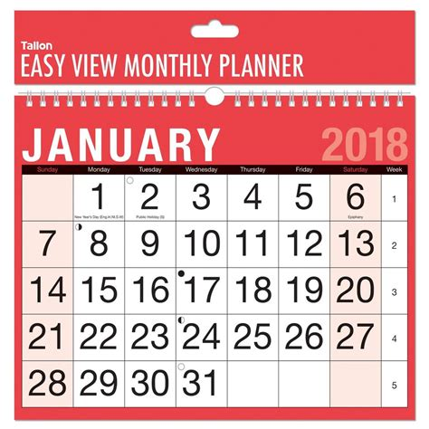 Calendario Happy New Deals Mediaworld 2018 A4 Easy Month To View Spiral Bound Wall Planner