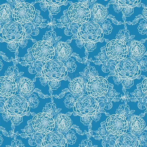 blue elegant pattern blue lace flowers seamless pattern background stock vector