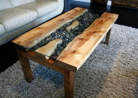 river coffee table birch live edge river coffee table with river rock