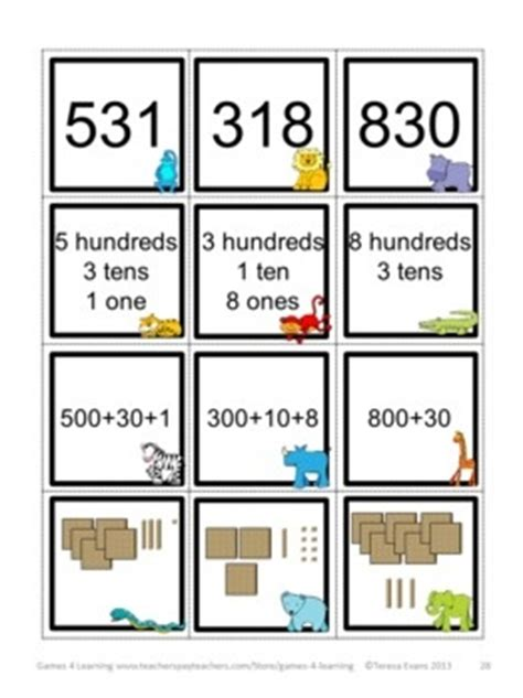 printable 3 digit number cards place value