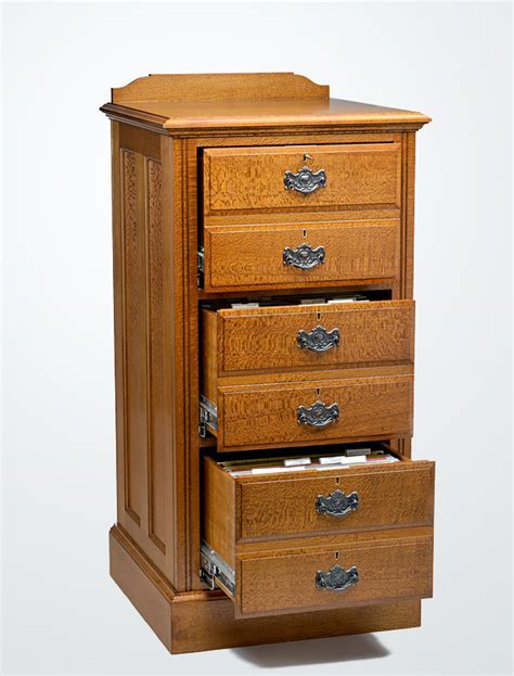 Silky Oak Timber Filing Cabinet   3 Drawer   Lacewood