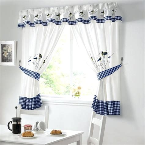 Kitchen Curtains Blue Blue Toile Kitchen Curtains Soozone