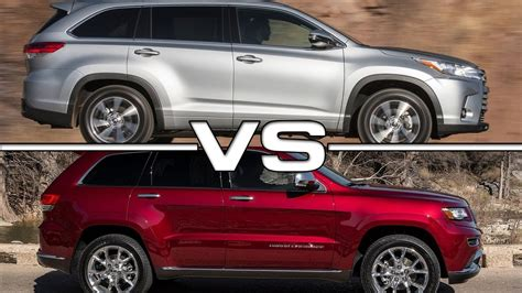 toyota jeep 2016 2017 toyota highlander vs 2016 jeep grand cherokee doovi