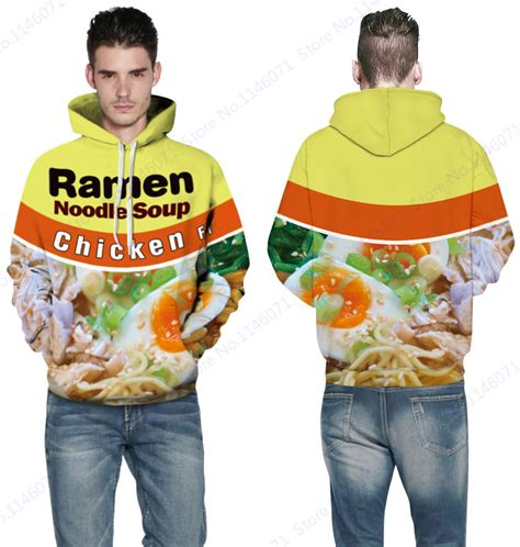 Jaket Sweater Hoodie Jumper Biru Less Is More Keren ramen noodle soup hooded sweatshirt jacket chicken letter skateboarding hoodies yellow