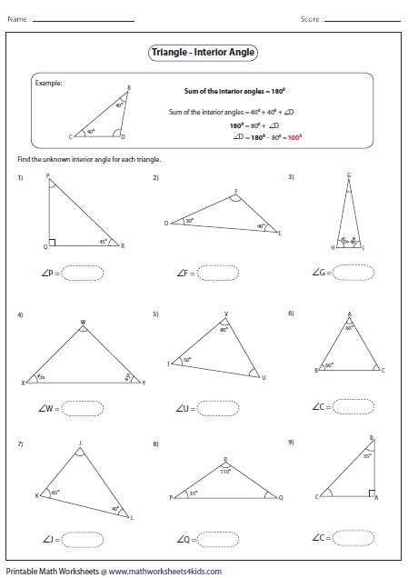 finding missing angles of a triangle worksheet triangles worksheets