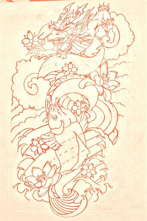 koi dragon sleeve tattoo designs koi sleeve lines by bmxninja deviantart on