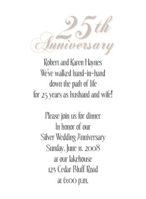 Sle Invitation Letter For Wedding Anniversary 25th Wedding Anniversary Invitations