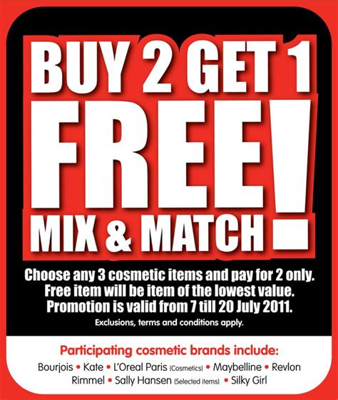 watsons buy 2 get 1 free cosmetics great deals singapore