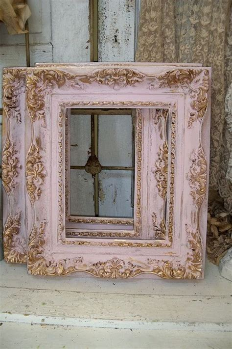 shabby chic pink frames soft muted colors gold accent