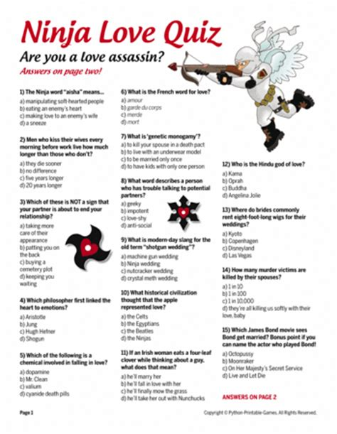 printable love games ninja love quiz printable games