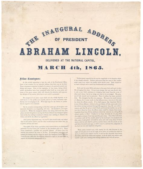lincoln inaugural address 1865 president lincoln s second inaugural address 1865