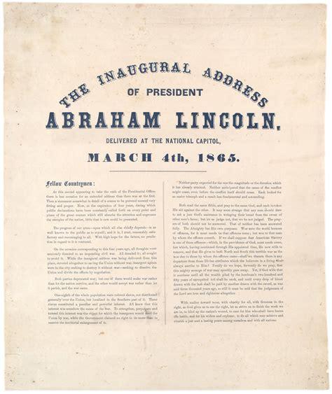 abraham lincoln inaugural address president lincoln s second inaugural address 1865 the