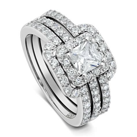 women s 3 25 ctw princess cut 925 sterling silver cz wedding engagement ring set ebay