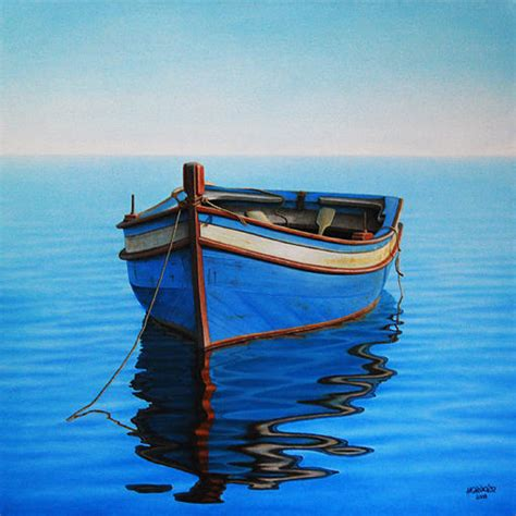 fishing boat art work early morning painting by horacio cardozo