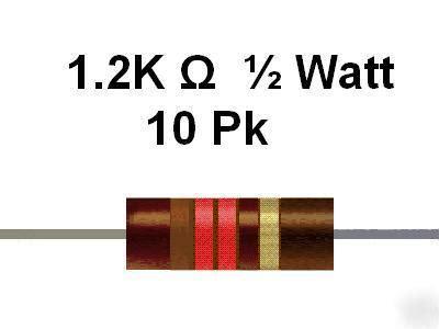 resistors oklahoma city 1 2k ohm 1 2 watt 10 carbon comp resistors 10pcs