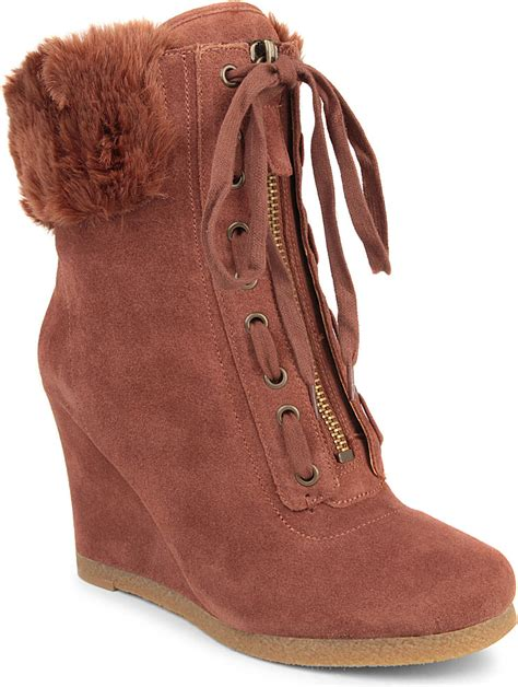 nine west bayla suede wedge ankle boots in beige lyst