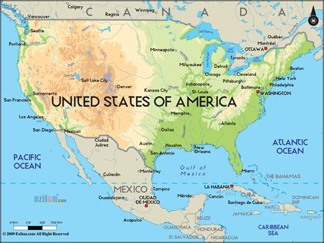 united states map with key cities large physical map of the united states with major cities