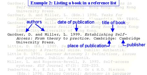 how to reference your book exle 2 listing a book in a reference list