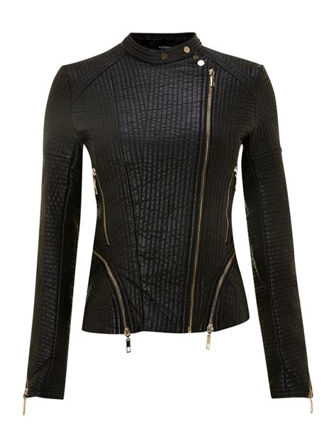 Quilted Jacket Black by Glamorous Pu Quilted Jacket In Black Lyst