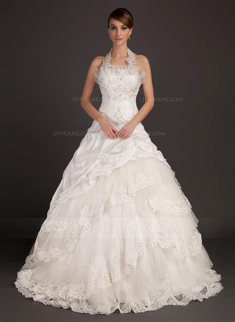 Capela Dress gown halter chapel taffeta wedding dress with lace beading 002015494 jjshouse