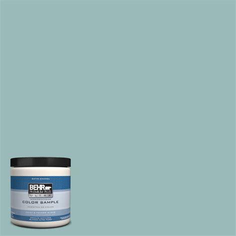 behr premium plus ultra 8 oz ppu12 6 pool blue interior exterior satin enamel paint sle