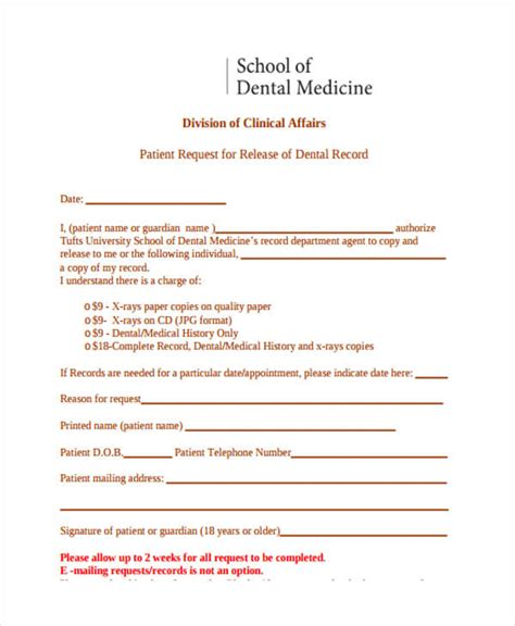 dental records release form 24 release form templates