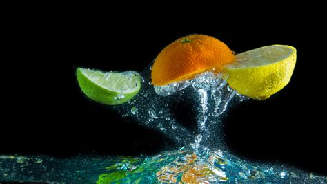 full hd wallpaper fruit lime orange lemon water drop