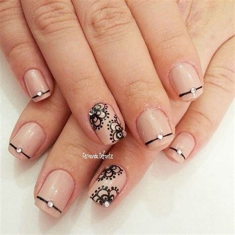 1000 images about nail art 4 on pinterest china glaze elegant nails with single stiples and lace on nude base