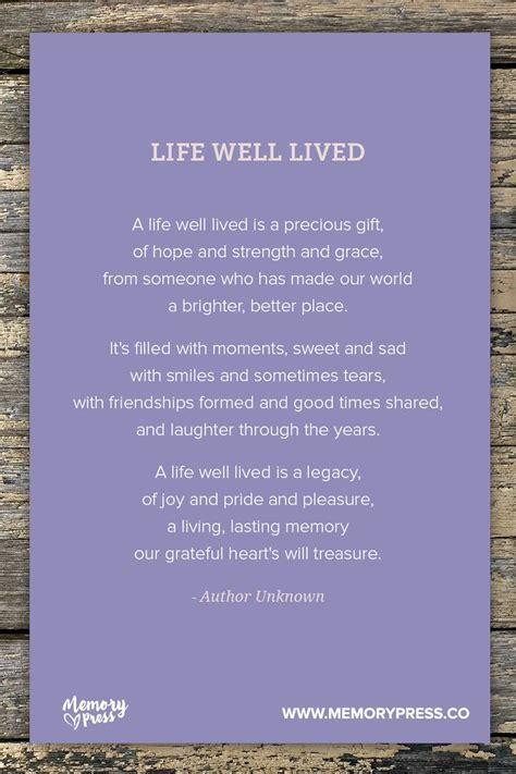 Life Well Lived. A collection of non religious funeral