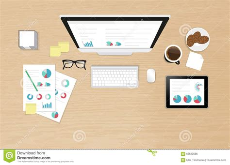 work desk organization analytics process on the work desk top view stock vector