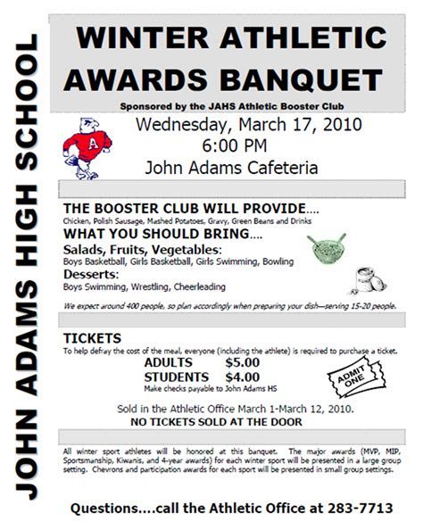 athletic banquet program template march 2010 swims