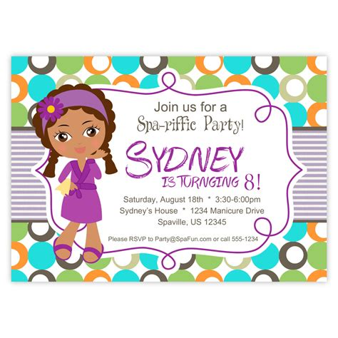 printable spa party invites images