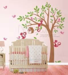 Bird Tree Wall Sticker Swaying Tree Bird House With Squirrel Friends 095