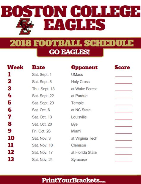 printable schedule college football boston college eagles 2018 football schedule printable