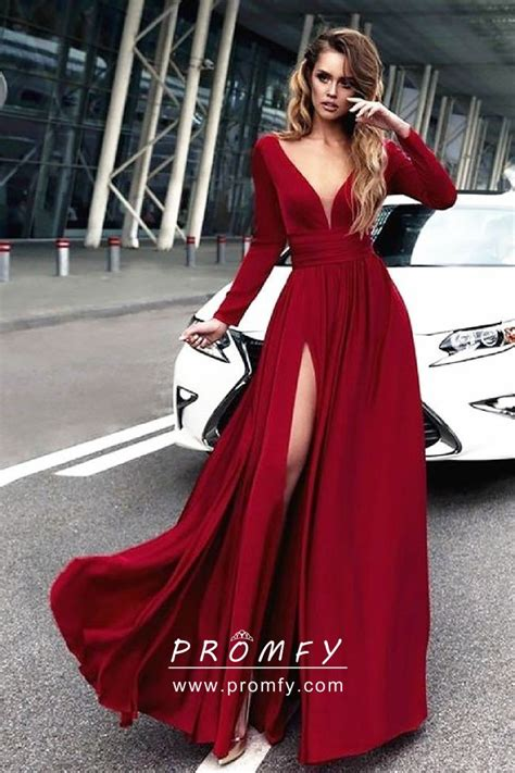crimson red satin chiffon long sleeve side slit