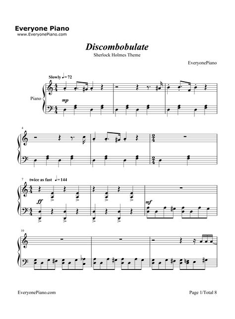 theme music sherlock discombobulate sherlock holmes theme stave preview 1 free