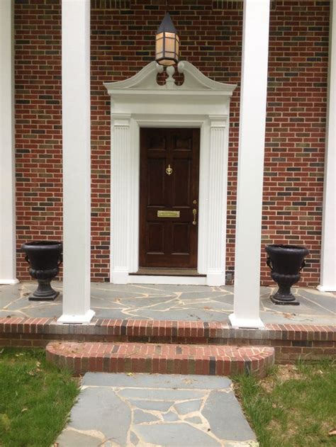 Exterior Door Pediment 1941 Southern Colonial Revival Two Story Columns Broken Pediment Front Door Slate Front Porch