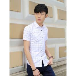 Baju Kantor Kemeja Biru Tua Garis Putih Brand Outlook jual kemeja pria slim fit